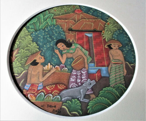 "BATIK PAINTING #1 SIGNED W. BAWA Bali 12 1/8"" Square Frame Village Scene"