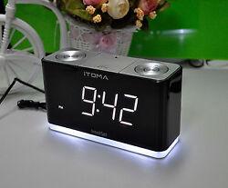 iTOMA Alarm Clock with FM Radio, Night Light, Dual Alarm, Cell Phone Charging