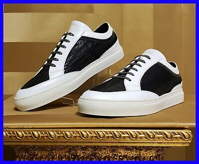 NEW VERSACE BLACK WOVEN PATENT LEATHER and WHITE LEATHER DETAIL SNEAKERS 42 - 9