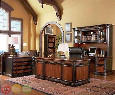 Wood 3 Piece Executive Office Desk Credenza Hutch