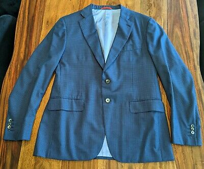 ISAIA Napoli Suit Jacket and Pants, Blue and Black, Measurements incl.