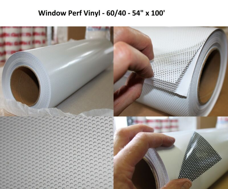 "60/40 Window Perf Film UV Vinyl Solvent Latex 54"" X 100"