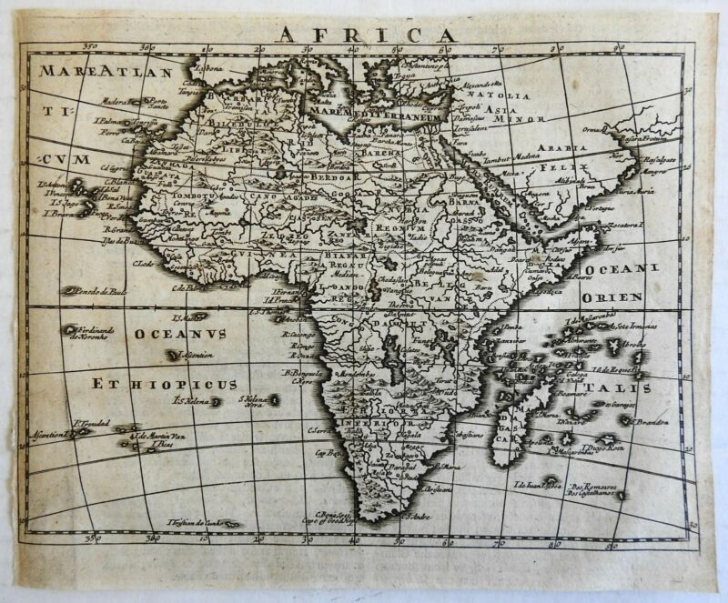 Africa continent c.1700 charming miniature engraved map