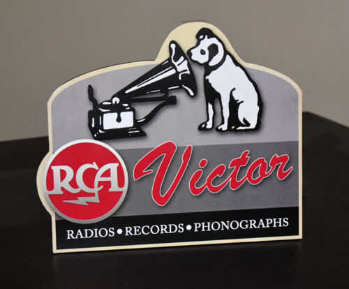 RCA Victor Radios Phonograph Records Stand up advertising sign Nipper dog