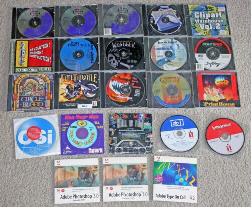 Lot of 23 Vintage Macintosh Apple Mac PowerMac Software CD-ROMs Games, Photoshop