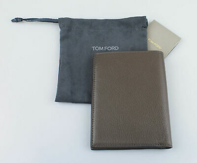 NWT TOM FORD Taupe Gray 100% Pebbled Leather Bifold Card Holder Wallet $450