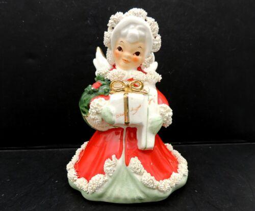 Napco Christmas Angel Spaghetti Trim AX 116A Red Dress Japan Vintage