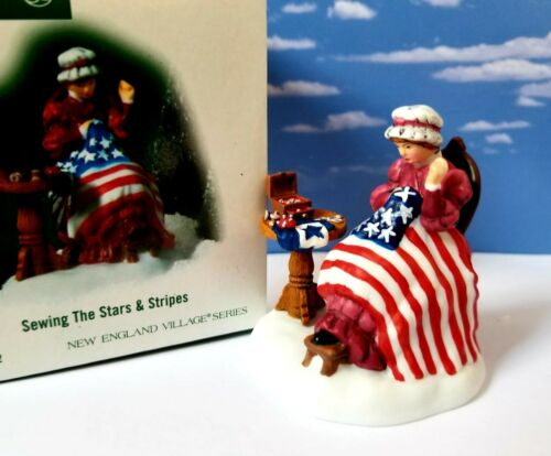 DEPT 56 New England Village SEWING THE STARS & STRIPES! Patriotic, Flag, Colony
