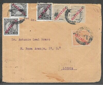 ANGOLA OVERPRINT IN RED REPUBLICA TO LISBOA