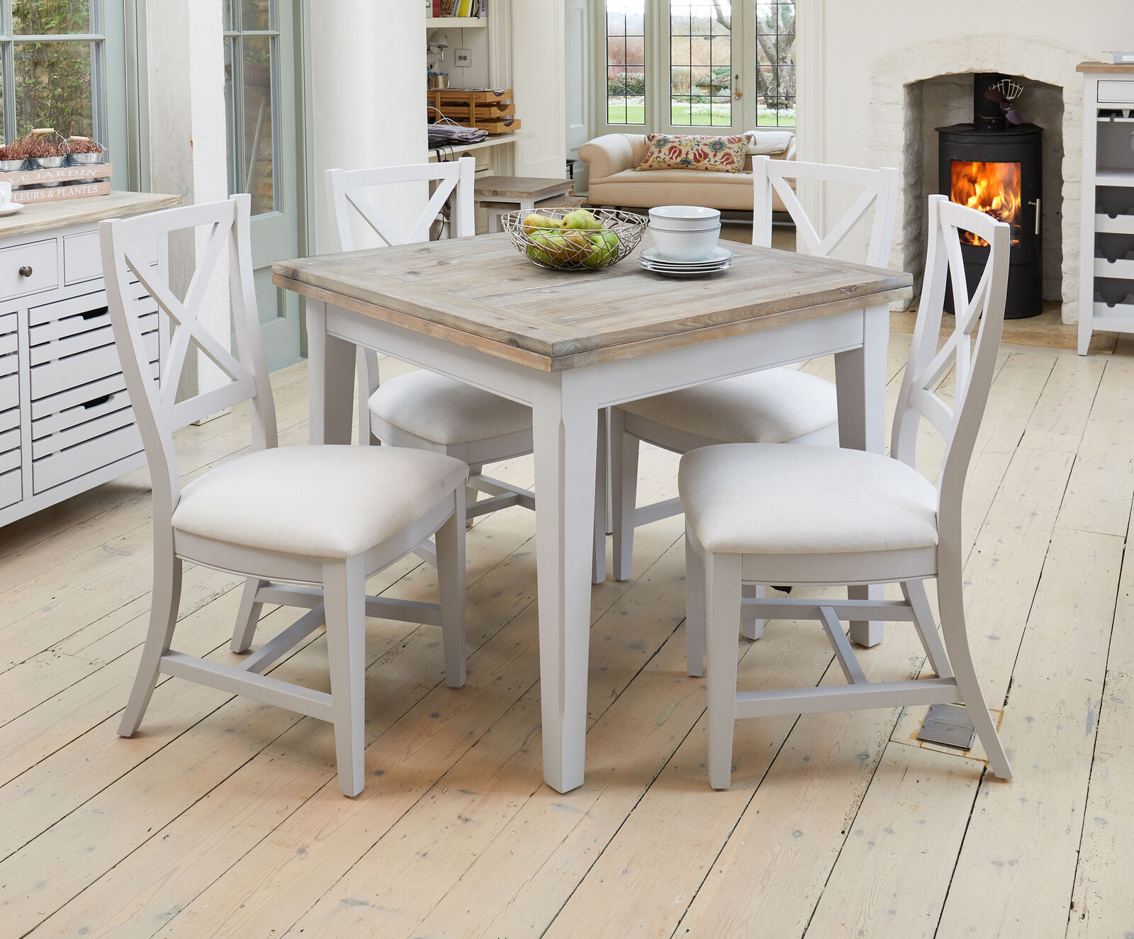 Signature Solid Wood Extending Dining Table 6 Seater Grey And Limed Oak Ebay