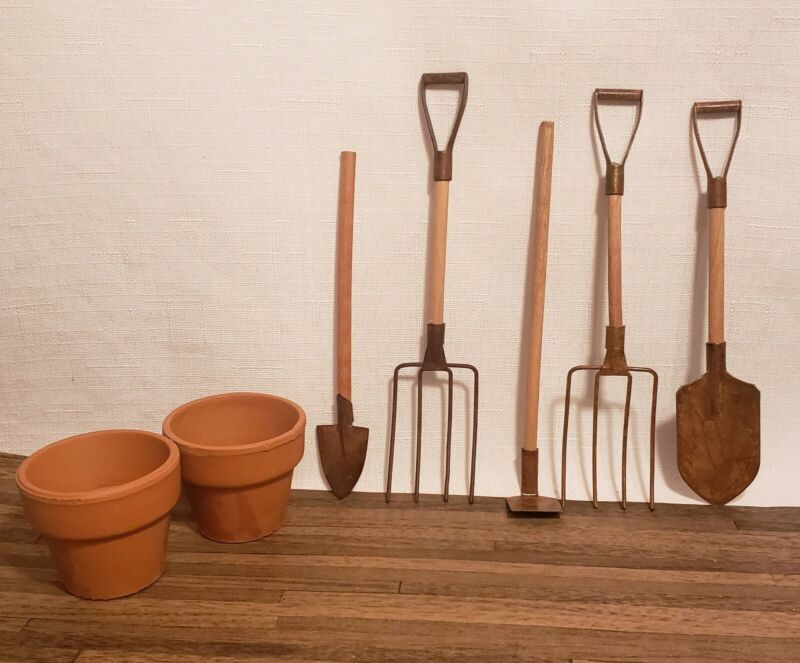 Miniature Garden/Farm Tools and Clay Pots