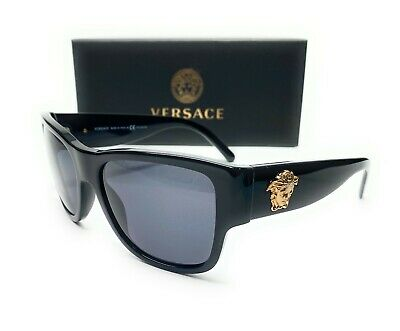 Versace VE4275 GB1 81 Black Grey Polarized Lens Men Square Sunglasses 58mm