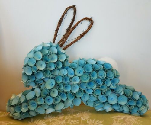 Pier 1 Imports Adorable Easter Rabbit Blue Bunny Wood Curl Wreath New
