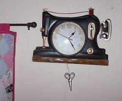 Sewing Machine Retro Metal Pendulum Wall Clock Vintage Look Wall Art Home Decor