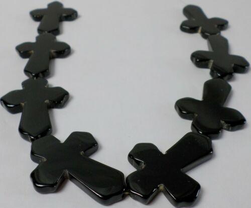 "15"" Strand Gorgeous Black XL 50x35mm Onyx Straight Through CROSS Beads Old Stock"