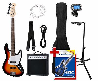 Pack Bajo Electrico Sunburst JB-Estilo Jazz Bass Bolsa Amplificador Afinador Set