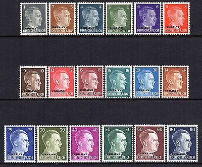 GERMANY 3rd REICH WWII Occupations UKRAINE Hitler O/P 1941 Issue Fine MNH Set
