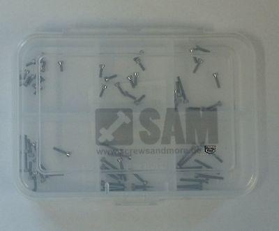 60 Stück Schlitzschrauben M1,6 Edelstahlschrauben A2 DIN 84 Schraubenbox