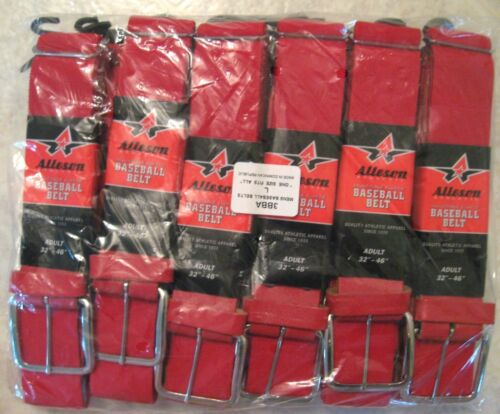 ALLESON Adult Red Baseball Belts  Pack of 12