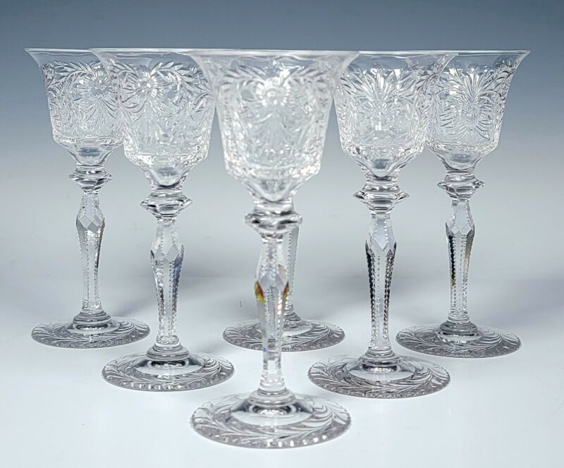 """Pairpoint Glass 4 3/4"""" Tall Set of 8 Beautiful Cut Crystal Cordial Wine Stems"""