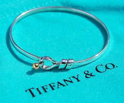 584636ffd Tiffany & Co Sterling Silver 18Ct 18K Yellow Gold Love Knot Hook Bangle  Bracelet for sale