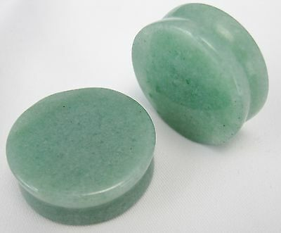 1 PAIR GENUINE AVENTURINE STONE SADDLE PLUGS EAR POLISHED ORGANIC GAUGES JADE