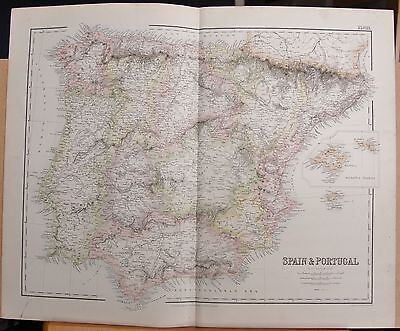 1874 ORIGINAL ANTIQUE LARGE FULLARTON MAP- SPAIN & PORTUGAL