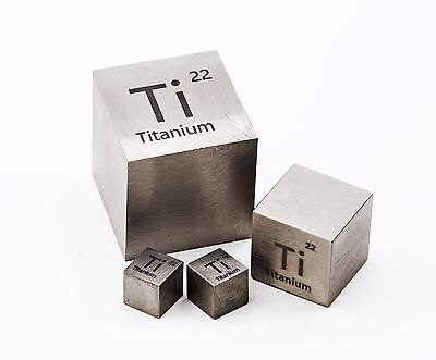 Titanium Metal 10mm Density Cube 99.95% Pure for Element Collection
