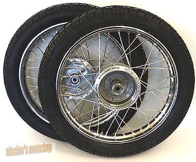 SIMSON 2 Kompletträder im Satz Rad 1,5x16 Stahl verchromt VEE RUBBER von MZA