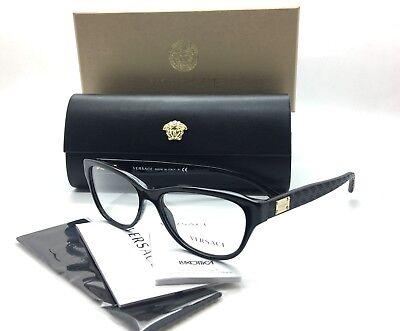 Versace MOD 3204 GB1 Shiny Black New Authentic Eyeglasses 53mm w/Box