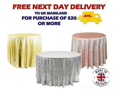 Glitter Sequin Tablecloth Backdrop Runner Napkin Rose Gold Pink Silver Red Navy
