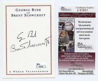 George H W Bush Signed Official Bookplate A World Transformed Jsa Coa 01831