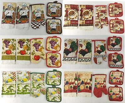 5pc Cotton Kitchen Set DESIGN CHOICE (2)Dish Towels (1)Oven Mitt (2)Potholders  Kitchen Towels Mitt