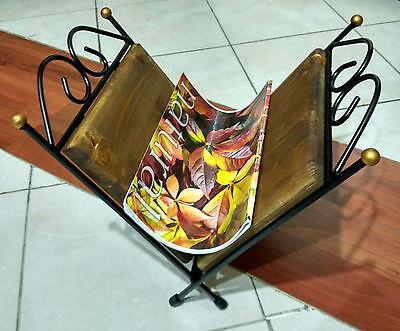 Porta riviste porta giornali in ferro battuto e legno