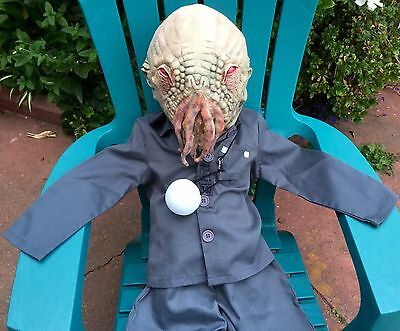 Doctor Who Child Costume (BBC DR DOCTOR WHO RED EYE OOD MONSTER COSTUME MASK LITE UP BALL BOYS CHILD S 5)