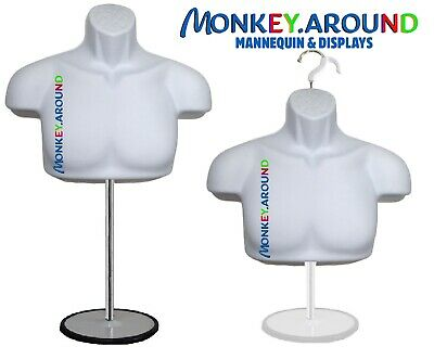 Male Mannequin Form Standtrade Show Torso Displays Men Jersey Shirt - White