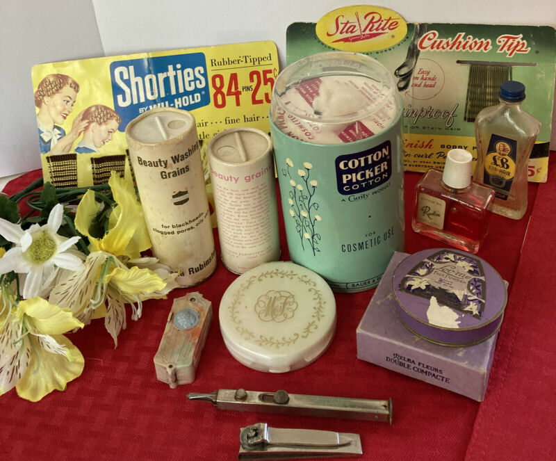 Lot Of VTG Beauty Products Revlon, Clairol, Helena Rubinstein, Max Factor