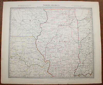 1853 Parts of Missouri Illinois Iowa Indiana Original Antique MAP George COX