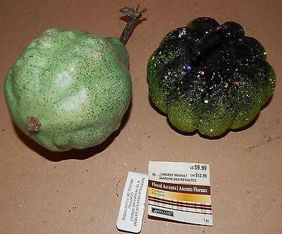 Ea Halloween (Halloween Decorative Harvest Decor 2ea Plastic Gord & Glitter Foam Pumpkin 134K)