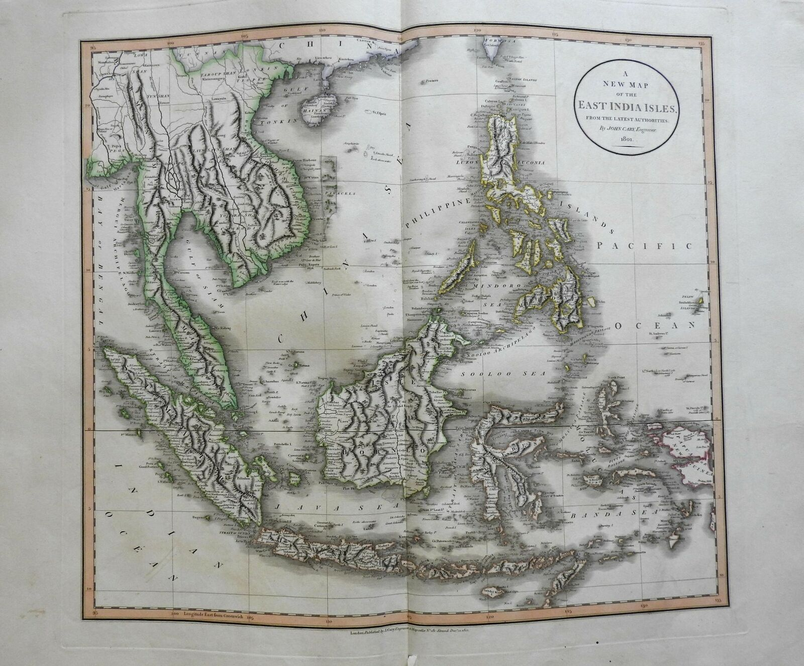 East Indies islands Southeast Asia Malaysia Philippines Java 1801 Cary folio map