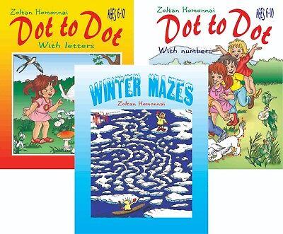 lot 3 pcs - Dot to Dot + Winter Mazes Activity Coloring Puzzles Kids 4-10 - Kids Maze