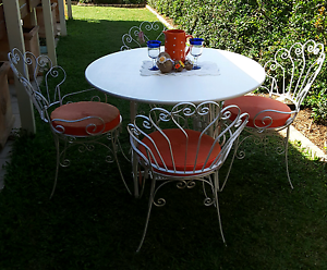 RECYCLED SEWING MACHINCE TABLE AND 4 VINTAGE CHAIRS   $450 Upper Caboolture Caboolture Area Preview