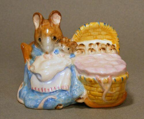 Beatrix Potter Hunca Munca Mice in Cradle Warne Beswick England