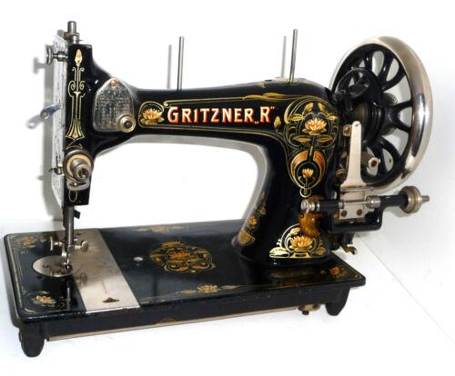 Antique GRITZNER R DURLACH sewing machine denim leather canvas victorian vtg