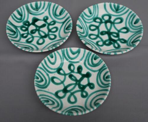 "Vintage Austrian Gmundner Keramik Green Stripe Serving Wall Plate 8"" Marked 3pcs"