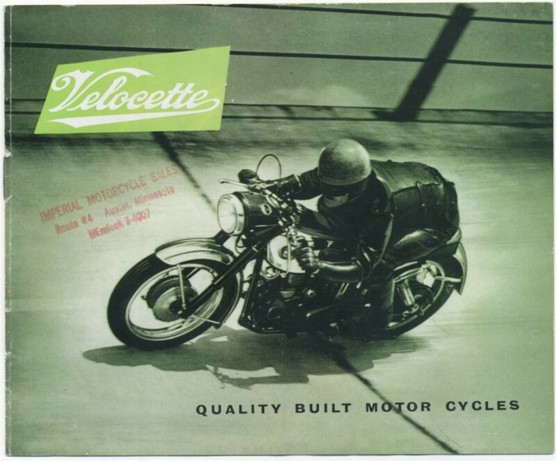 1958 Catalog Velocette Quality Motor Cycles Imperial Motorcycle Sales Austin MN