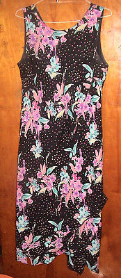 Ksl Sleeveless Black Floral Dress With Ruffles   Layers Size 18W Pre Owned