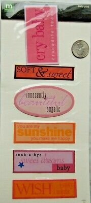 Baby Fabric Stickers (Making Memories fabric label stickers BABY GIRL word phrase beautiful sunshine )