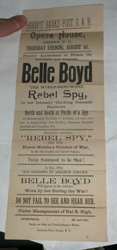 Rare Belle Boyd Vintage Vaudeville Handbill Grand Army of the Republic Greene NY