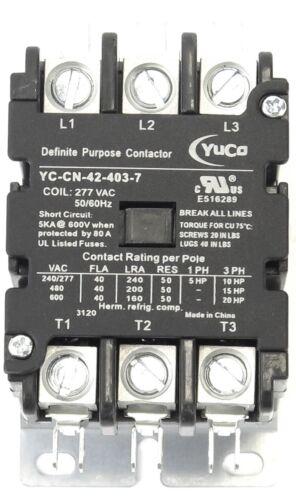 Yuco YC-CN-42-403-7 DP Contactor 40A 3P 277V Coil FITS FURNAS SIEMENS 42BF35AL